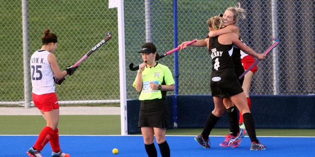 The Black Sticks celebrate another goal against Korea at the Hawke's Bay Festival of Hockey. PHOTO PAUL TAYLOR