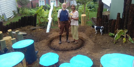 Alf and Maureen Paterson in Kaeo's hupara garden while it was still under construction. PHOTO / SUPPLIED