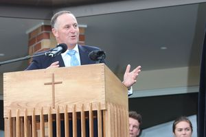 Prime Minister John Key speaking after a ribbon-cutting ceremony at a new AgriBusiness Centre at St Paul's Collegiate School in Hamilton today.
