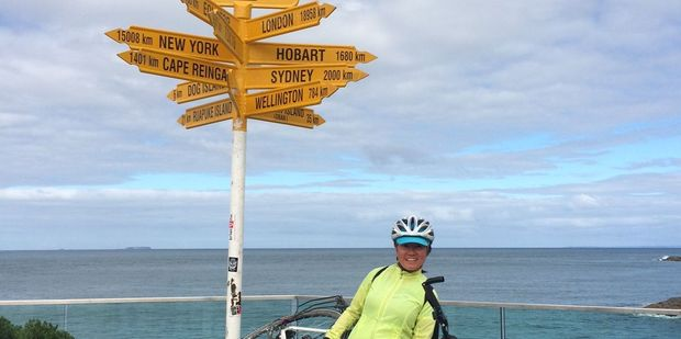 Chinese tourist Maya Zhang has made it to Bluff with her cycle tour bike and gear that was donated by the Wairarapa community. PHOTO/SUPPLIED