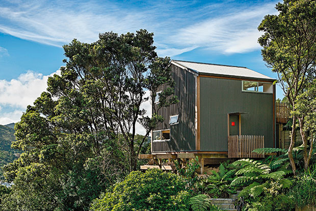 "At just 50sq m, Andrew Simpson and Krysty Peebles' house overlooking Wellington's bush and city conforms to Japanese architect Makoto Masuzawa's  ""minimum house"" concept."