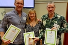 TOP WORDS: Aaron Topp, Anna MacKenzie and Gareth Ward with their winning certificates. PHOTO/SUPPLIED