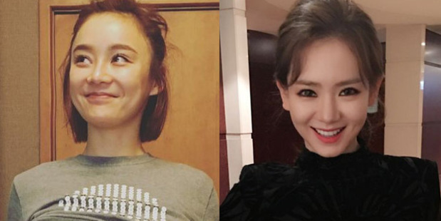 Actresses Yuan Shanshan (left) and Qi Wei posted photos of themselves on Weibo as part of the A4 Challenge.