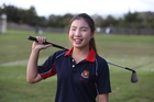 Focus Jonglikit is a student at a golf academy at St Peter's School in Cambridge and she wants to follow in Lydia Ko's footsteps as a professional. Photo / Doug Sherring