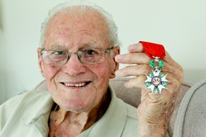 Stan Douglas with France's highest honour for his part in D-Day in 1944
