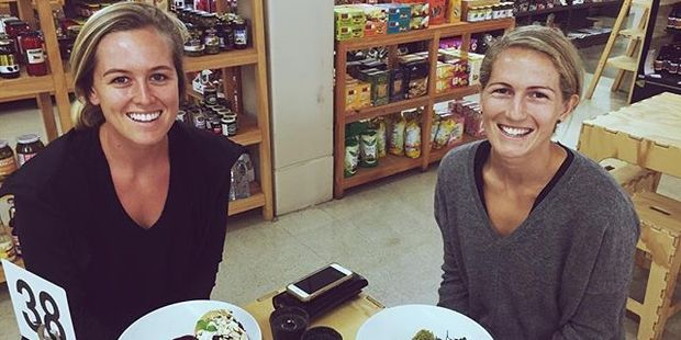 Samantha Charlton and Stacey Michelsen taking a break from festivities to enjoy some local cuisine. Photo / Instagram