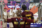 West Indies' Dwayne Bravo celebrates after his team's win over England. photo / AP