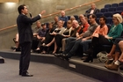 Simon Bridges held a public meeting last night. Photo / George Novak