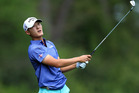 Danny Lee plays his second shot on the fifth hole. Photo / Getty