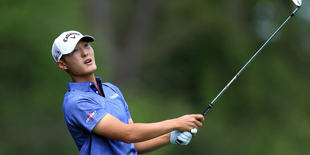 Loading Danny Lee plays his second shot on the fifth hole. Photo / Getty