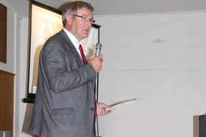 Ian Walker, recently retired Vet Services Hawke's Bay managing director, speaking at his farewell function.