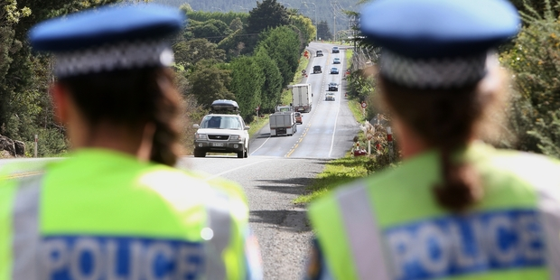 Oncoming traffic at Kauri comes under close scrutiny by Constable Natalia Panoho and Sergeant Barbara Goodwin. Photo / Michael Cunningham