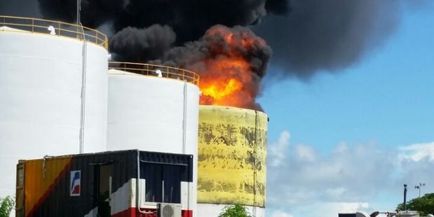 Fire at a fuel storage tank in Apia. Photo / Corey Keil