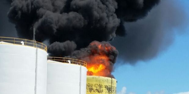 Fire at a fuel storage tank. Photo / Corey Keil