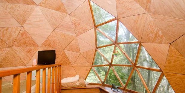 The interior of  Kitty Mrache's Mushroom Dome Airbnb property in Santa Cruz, United States. Photo / Airbnb