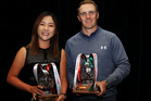 Lydia Ko and Jordan Spieth pose with their GWAA Player of the Year Awards. Photo / Getty