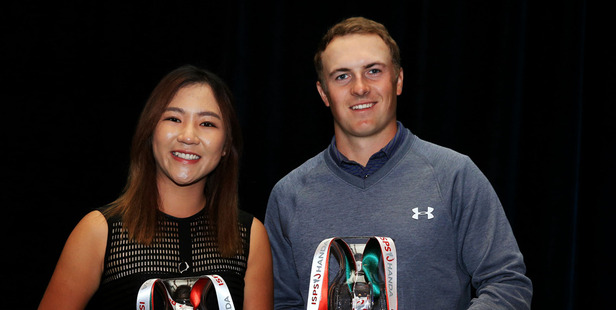 Loading Lydia Ko and Jordan Spieth pose with their GWAA Player of the Year Awards. Photo / Getty