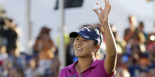 Loading Lydia Ko reacts as she finishes up on the 18th hole on her way to winning the LPGA Tour ANA Inspiration. Photo / AP