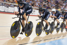 Marc Ryan leads the team pursuit at the recent UCI Track Cycling World Championships in London. Photo / Guy Swarbrick