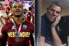 Marlon Samuels launched into Shane Warne during the press conference following his side's win. Photo AP and Getty