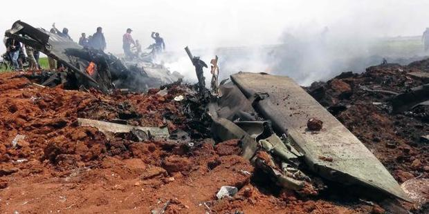 Wreckage of the warplane that has been shot down.