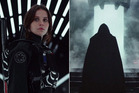 Left, Felicity Jones as Jyn Erso and, right, a hooded black figure that many believe to be Darth Vader.