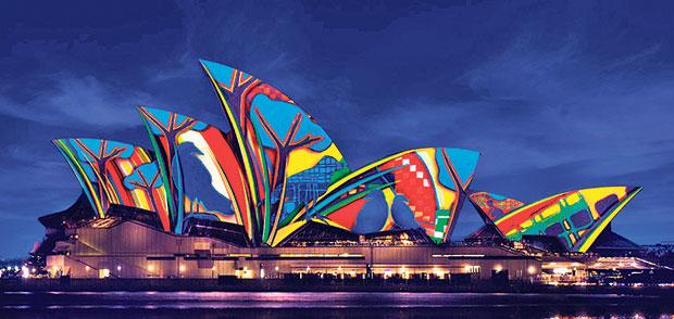 The Sydney Opera House lit up during VividSydney.