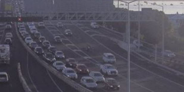 The NZTA said traffic was heavy after a three-car crash on the Victoria Park flyover. Photo / NZTA