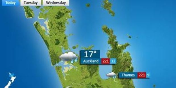 The forecast showed that Auckland would reach a staggering 221 degrees Celsius. Photo / MetService