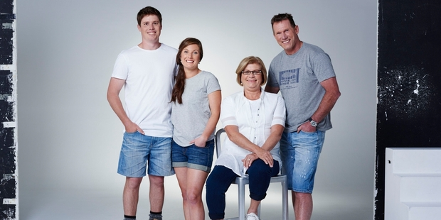 The Wotton family. Theresa Tingey from Tauranga, her 26-year-old surveyor son Josh, his primary school teacher girlfriend Bex, 26, and Bex's father Henry Wotton.