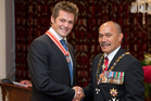 Former All Blacks captain Richie McCaw with the Governor General, Sir Jerry Mateparae, after receiving the Order of NZ at Government House in Wellington. Photo / Mark Mitchell