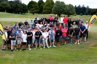 The field, just before the shotgun start to the 9th annual Cystic Fibrosis LJ Hooker golf tournament. Photo / John Stone