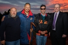 Kaumatua Pari Walker (left), Daniel Hauraki and Fred Tito with regional council chairman Bill Shepherd as the sun rises during the dawn blessing ceremony for the new detention dam in Whangarei.