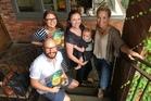 Author Malcolm Clarke, publisher Sophia Egan-Reid, designer Anna Egan-Reid with baby Louis Jackson and Hayley King, aka Flox.