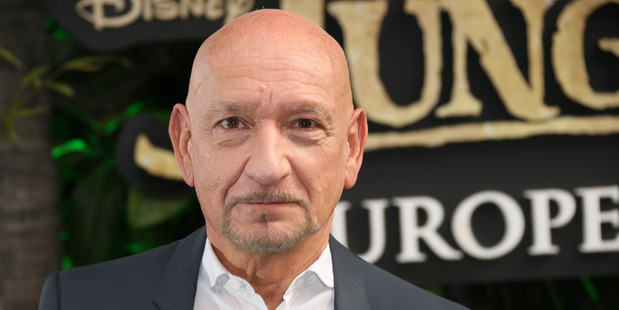 Ben Kingsley arrives at the London premiere of The Jungle Book. Photo/AP