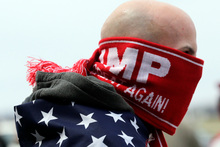 Anthony Gravitte of Geneva, New York, waits for a Donald Trump rally to begin in Rochester. Photo / AP