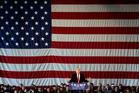 Republican presidential candidate Donald Trump speaks during a rally at JetSmart Aviation Services. AP photo / Mike Groll