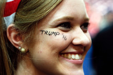 Paige Bailey of Horseheads, New York, waits for a rally for Republican presidential candidate Donald Trump to start at Albany. Photo / AP