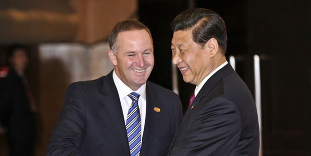 New Zealand Prime Minister John Key meets with Chinese Premier President Xi Jinping at the Boao Forum in China in 2013. Photo / File