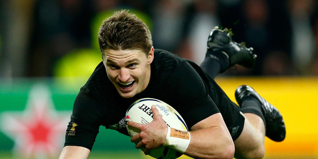 Beauden Barrett of New Zealand dives over the line to score his team's third try during the 2015 Rugby World Cup Final. Photo / Getty Images.
