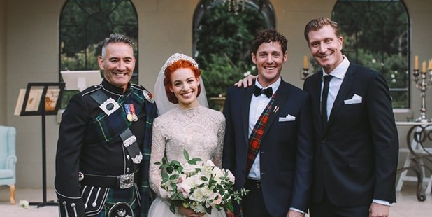 Anthony Field, Emma Watkins, Lachy Gillespie and Simon Pryce on Watkins and Gillespie's wedding day.