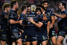 The Cowboys celebrate the try of Michael Morgan during the round seven NRL match between the North Queensland Cowboys and the South Sydney Rabbitohs. Photo / Getty Images.