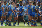 Kieran Foran celebrates a try with his Parramatta teammates during a comprehensive victory over the Canberra Raiders. Photo / Getty Images