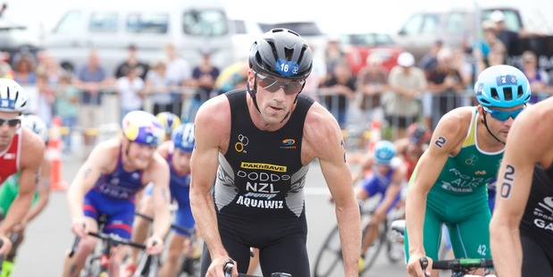 Tony Dodds competing at the New Plymouth ITU World Cup event. Photo / Scott Taylor