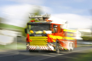 It's believed the caravan caught fire as a result of an accident shortly after 4pm on Tauranga Road.