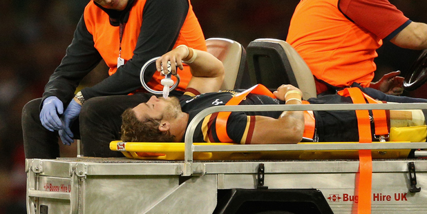 Leigh Halfpenny's ongoing World Cup injury woes makes it unlikely to see him play the All Blacks in June. Photo / Getty Images