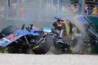 Fernando Alonso crashes heavily during the Australian Formula One Grand Prix. Photo / Getty Images