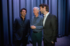Cliff Curtis (L), James Cameron (C), James Napier Robertson (R), chat before the premier of The Dark Horse. Photo / Getty
