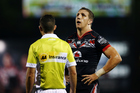 Warriors captain Ryan Hoffman appeals to referee Gavin Reynolds during Saturday's home defeat to Manly. Photo/Getty.