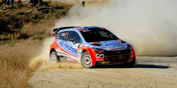 Hayden Paddon dominated the opening round of the NZ Rally Championship at Rally Otago. Photo / Geoff Ridder